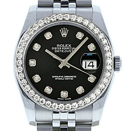 Rolex Datejust 36mm 116234 Unisex Black Diamond White Gold 36mm 1 Year Warranty