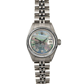 Rolex Datejust 6916 Women's Black MOP Diamond White Gold 26mm 1 Year Warranty