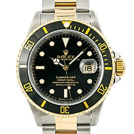 Rolex Submariner 16613 Men's Black Yellow Gold 40mm Automatic 1 Year Warranty