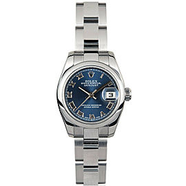 Rolex Datejust 26mm 179160 Women's Blue Roman Steel 26mm 1 Year Warranty