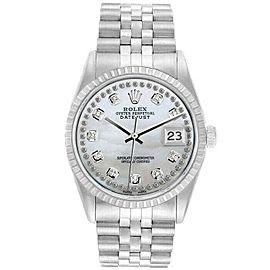Rolex Datejust 36mm 16220 Unisex White MOP Diamond Steel 36mm 1 Year Warranty
