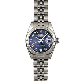 Rolex Datejust 179174 Women's Blue Arabic White Gold 26mm 1 Year Warranty