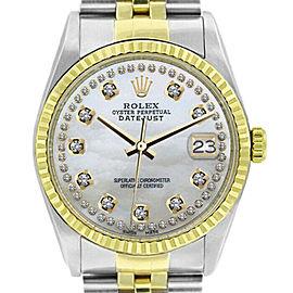 Rolex Datejust 16233 Unisex White MOP Diamond Yellow Gold 36mm 1 Year Warranty