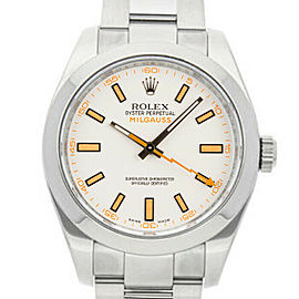 Rolex Milgauss 116400 Men's White Stainless Steel 40mm Automatic 1 Year Warranty