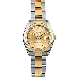 Rolex Datejust178243 Women's Champagne Index Yellow Gold 31mm 1 Year Warranty