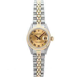 Rolex Datejust 6917 Women's Champagne Roman Yellow Gold 26mm 1 Year Warranty