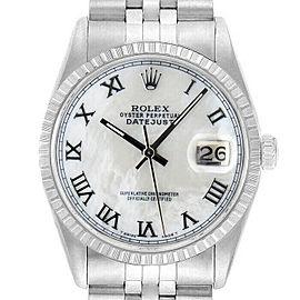 Rolex Datejust 36mm 16220 Unisex White MOP Stainless Steel 36mm 1 Year Warranty