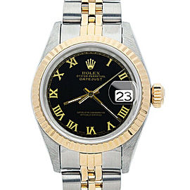 Rolex Datejust 26mm 6917 Women's Black Roman Yellow Gold 26mm 1 Year Warranty