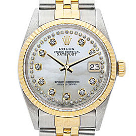 Rolex Datejust 16013 Unisex White MOP Diamond Yellow Gold 36mm 1 Year Warranty
