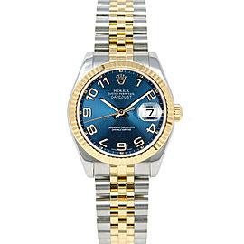 Rolex Datejust178273 Women's Blue Arabic Yellow Gold 31mm 1 Year Warranty