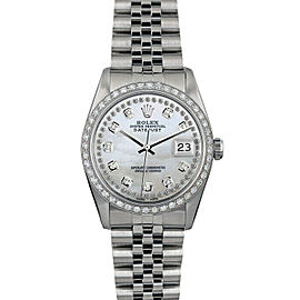 Rolex Datejust 16014 Unisex White MOP Diamond White Gold 36mm 1 Year Warranty
