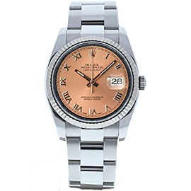 Rolex Datejust 36mm 116234 Unisex Salmon Roman White Gold 36mm 1 Year Warranty