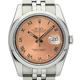 Rolex Datejust 36mm 116200 Unisex Salmon Roman Steel 36mm 1 Year Warranty