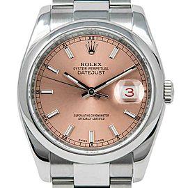 Rolex Datejust 36mm 116200 Unisex Salmon Index Steel 36mm 1 Year Warranty