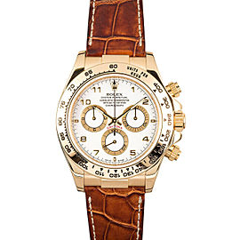 Rolex Daytona 116518 Men's White Yellow Gold 40mm Automatic 1 Year Warranty