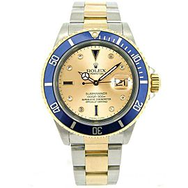 Rolex Submariner 16613 Men's Champagne Serti Diamond Gold 40mm 1 Year Warranty