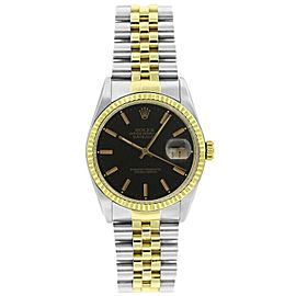 Rolex Datejust 36mm 16233 Unisex Black Index Yellow Gold 36mm 1 Year Warranty