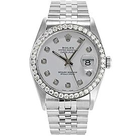 Rolex Datejust 36mm 16234 Unisex White Diamond White Gold 36mm 1 Year Warranty