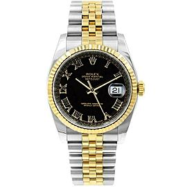 Rolex Datejust 36mm 116233 Unisex Black Roman Yellow Gold 36mm 1 Year Warranty