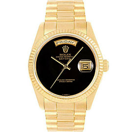 Rolex Day-Date 36mm 18238 Men's Black Onyx Yellow Gold 36mm 1 Year Warranty
