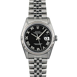 Rolex Datejust 36mm 16014 Unisex Black Roman White Gold 36mm 1 Year Warranty