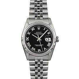 Rolex Datejust 36mm 16014 Unisex Black Roman White Gold 36mm 1 Year Warranty