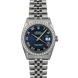 Rolex Datejust 36mm 16014 Unisex Blue Diamond White Gold 36mm 1 Year Warranty
