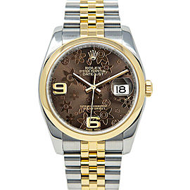 Rolex Datejust 116203 Unisex Chocolate Floral Yellow Gold 36mm 1 Year Warranty