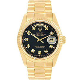 Rolex Day-Date 36mm 18238 Men's Black Diamond Yellow Gold 36mm 1 Year Warranty