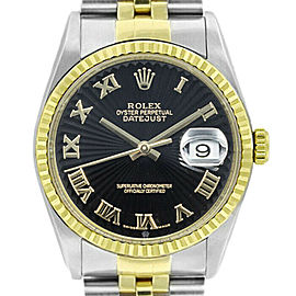 Rolex Datejust 36mm 16233 Unisex Black Roman Yellow Gold 36mm 1 Year Warranty
