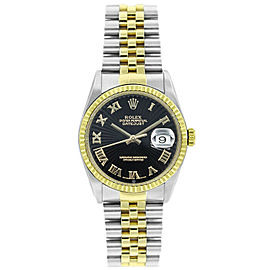 Rolex Datejust 36mm 16233 Unisex Black Roman Yellow Gold 36mm 1 Year Warranty