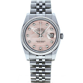 Rolex Datejust 116234 Unisex Pink MOP Diamond White Gold 36mm 1 Year Warranty