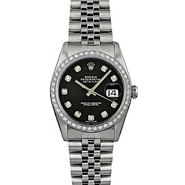 Rolex Datejust 36mm 16014 Unisex Black Diamond White Gold 36mm 1 Year Warranty