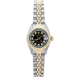 Rolex Datejust 26mm 6917 Women's Black Diamond Yellow Gold 26mm 1 Year Warranty