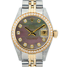 Rolex Datejust 6917 Women's Black MOP Diamond Yellow Gold 26mm 1 Year Warranty