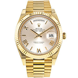 Rolex Mens Yellow Gold President Day-Date 228238 Silver Roman Dial UNWORN