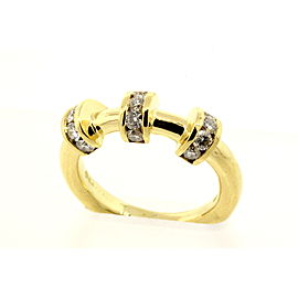 Charles Krypell .60ct Diamond Band Ring 18k Yellow Gold 3 Station sz 5.5