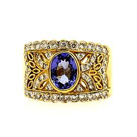 Levian Tanzanite Diamond Ring Wide Band Oval 18k Yellow Gold sz 7