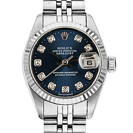 Rolex 69174 Datejust 26mm Women's Stainless Steel Blue 1 Year Warranty