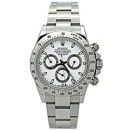 Rolex 116520 Daytona Men's Stainless Steel White 1 Year Warranty