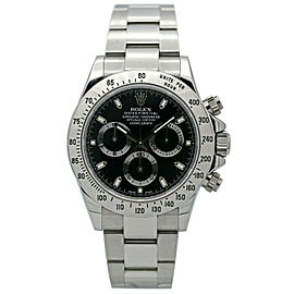 Rolex 116520 Daytona Men's Stainless Steel Black 1 Year Warranty