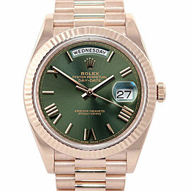 Rolex 228235 Day-Date 40mm Men's Rose Gold Green 1 Year Warranty