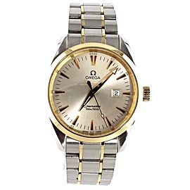 OMEGA SEAMASTER AQUA TERRA 2317.30 SWISS QUARTZ 18K GOLD MENS LUXURY MINT WATCH