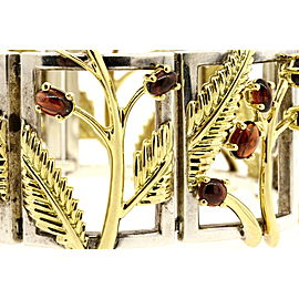 2003 Tiffany & Co. Bracelet 18k Gold Cabochon Garnet Sterling Bangle & Box