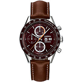TAG HEUER CARRERA CV2013.FC6234 AUTOMATIC CHRONOGRAPH BROWN LEATHER MENS WATCH