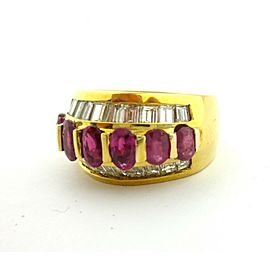 Antique 18KT Yellow Gold Ruby and Baguette Diamond Ring 3 Row Band 2.60Ct