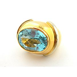 18KT 2-Tone Yellow and White Gold Aquamarine Band Ring Antique Gypsy