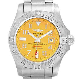 Breitling Avenger II 45 Seawolf Yellow Dial Mens Watch A17331 Box Card