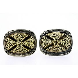 Konstantino Cufflinks Cross Domed Scroll Sterling Silver 18k Gold