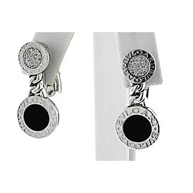 Bvlgari Bulgari Earrings Diamond Onyx Dangle Drop Double Circle